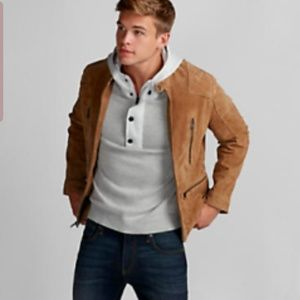 Express mens leather bomber jacket